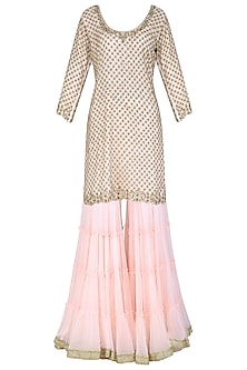 Baby Pink Embroidered Kurta with Gharara Pants Set by Megha & Jigar