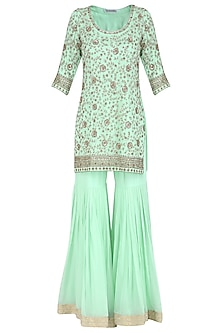 Sea Green Embroidered Kurta with Gharara Pants Set by Megha & Jigar