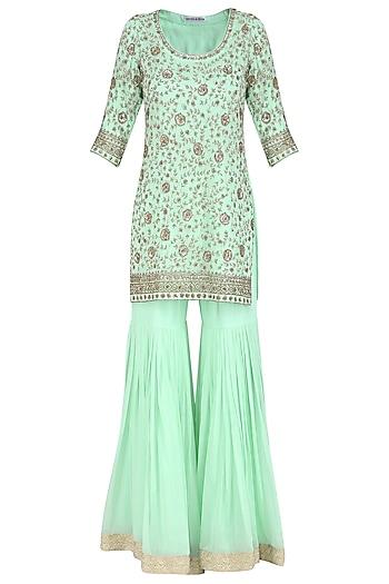 Sea Green Embroidered Kurta with Gharara Pants Set by Megha & Jigar