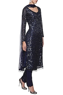Navy Blue Embroidered Kurta Set by Megha & Jigar