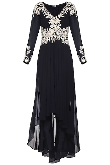 Navy Blue High-Low Embroidered Jacket with Pants by Megha & Jigar