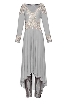 Grey High-Low Embroidered Jacket with Pants by Megha & Jigar
