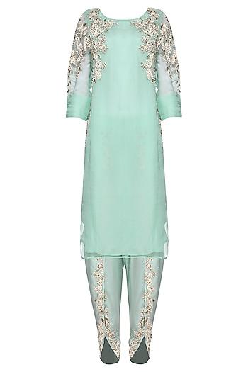 Aqua Blue Embroidered Kurta with Dhoti Pants Set by Megha & Jigar