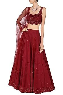 Deep Red Embroidered Lehenga Set by Megha & Jigar