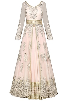 Baby Pink Embroidered Jacket with Lehenga Skirt Set by Megha & Jigar