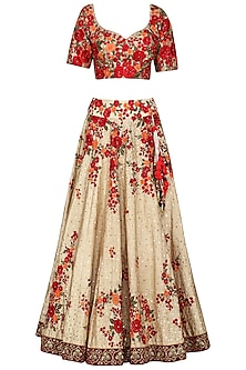 Maroon and Beige Embroidered Lehenga Set by Megha & Jigar