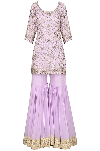 Lavender Embroidered Kurta with Gharara Pants Set by Megha & Jigar