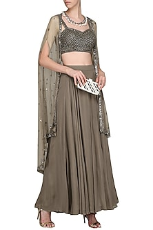 Brown Embroidered Bustier with Sharara Pants and Cape by Megha & Jigar