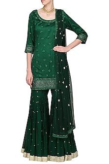 Dark Green Embroidered Kurta with Gharara Pants Set by Megha & Jigar-READY TO SHIP