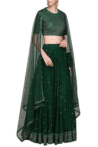 Dark Green Embroidered Lehenga Set by Megha & Jigar