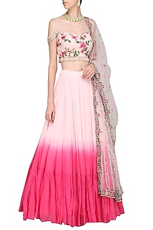 Pink Embroidered Lehenga Set by Megha & Jigar