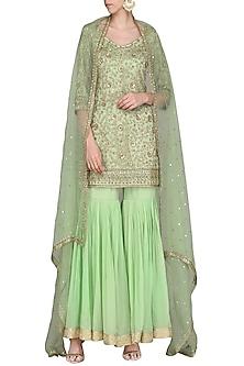 Fern Green Embroidered Kurta with Gharara Pants Set by Megha & Jigar