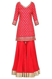 Coral Embroidered Kurta with Gharara Pants Set by Megha & Jigar