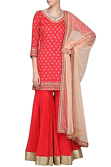 Coral Embroidered Kurta with Gharara Pants Set by Megha & Jigar