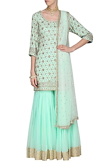 Aqua Blue Embroidered Kurta with Gharara Pants Set by Megha & Jigar