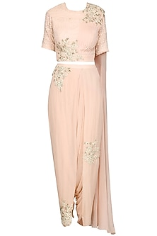 Baby Pink Embroidered Drape Saree by Megha & Jigar