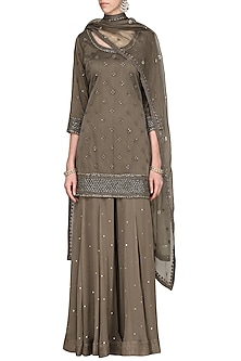 Brown Embroidered Kurta with Gharara Pants Set by Megha & Jigar