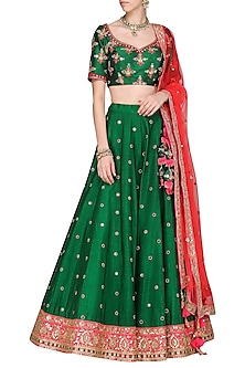 Green and Hot Pink Embroidered Lehenga Set by Megha & Jigar