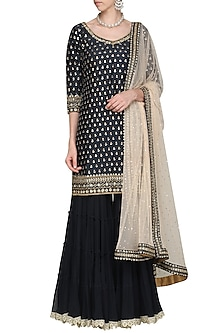 Dark Blue Embroidered Kurta with Gharara Pants Set by Megha & Jigar