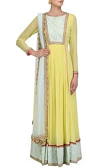 Lemon Yellow and Aqua Embroidered Anarkali Set by Megha & Jigar