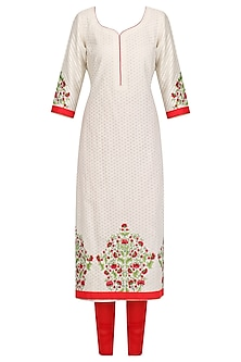 White Floral Thread Embroidered Kurta Set by Megha & Jigar