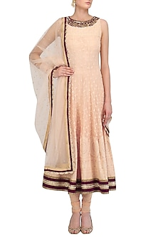 Peach and Wine Lakhnavi Anarkali Set by Megha & Jigar