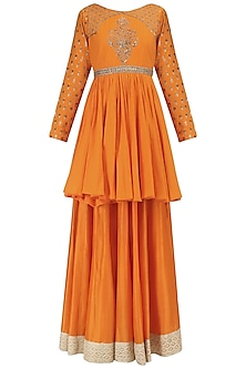 Orange Chanderi Embroidered Peplum and Skirt Set by Megha & Jigar