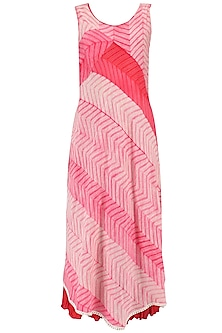 Pink Shibori Tunic with Red Skirt and Neck Piece by Megha & Jigar