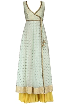 Mint Anarkali Kurta and Lemon Yellow Sharara Pants Set by Megha & Jigar