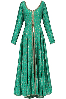 Green Chanderi Kurta and Palazzo Pants Set by Megha & Jigar