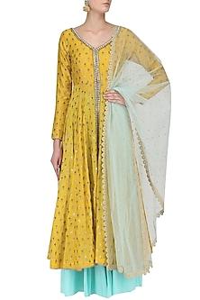 Yellow Chanderi Kurta and Aqua Sharara Pants Set by Megha & Jigar