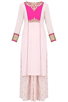 Baby Pink Short Kurta and Gota Patti Sharara Pants Set by Megha & Jigar