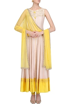 Peach and Lemon Chanderi Full Length Kurta Set by Megha & Jigar