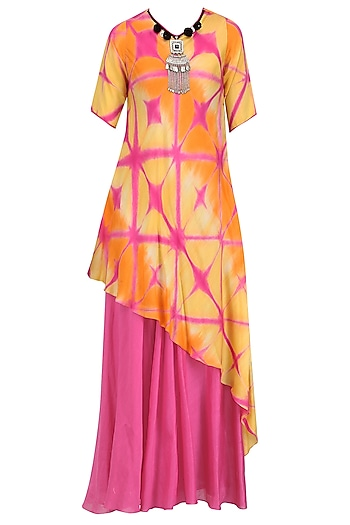 Pink and Yellow Shibori Print Dress by Megha & Jigar