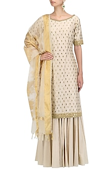 Off White Chanderi Kurta and Sharara Pants Set by Megha & Jigar