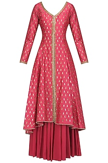Pink Chanderi Kurta and Sharara Pants Set by Megha & Jigar
