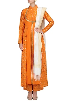 Orange Chanderi Kurta and Palazzo Pants Set by Megha & Jigar