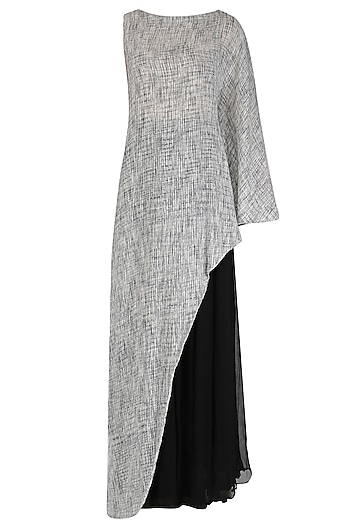 Black and Grey Textured Asymmetrical Top and Sharara Set by Megha & Jigar