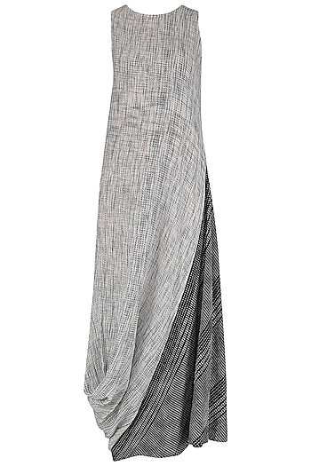 Grey and Black Textured Cowl Drape Dress by Megha & Jigar
