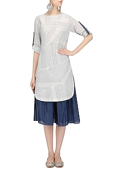 White and Blue Textured Kurta and Pleated Palazzo Set by Megha & Jigar