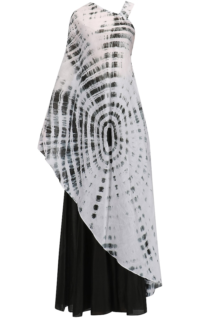 Black and White Sibori Top and Chanderi Pants Set by Megha & Jigar