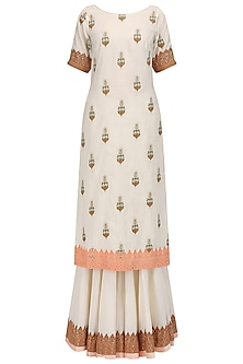 Off White Printed Kurta and Gharara Set by Megha & Jigar