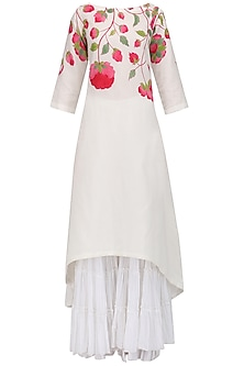 White Handpaint Kurta and Gharara Set by Megha & Jigar