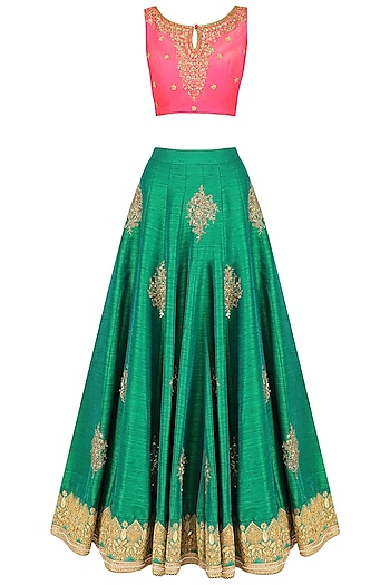 Green Embroidered Lehenga and Hot Pink Blouse Set by Megha & Jigar
