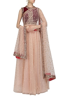Peach Mukaish Work Lehenga and Maroon Blouse Set by Megha & Jigar