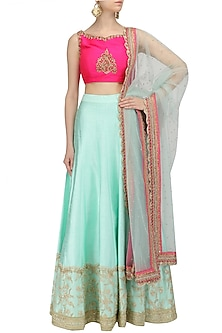 Aqua Blue Embroidered Lehenga and Hot Pink Blouse Set by Megha & Jigar