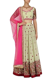 Mint Green Mirror Work Lehenga and Blouse Set by Megha & Jigar