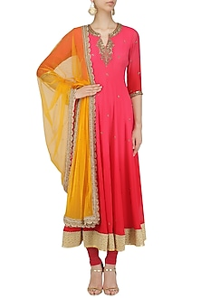 Coral Omre Embroidered Anarkali with Mustard Dupatta by Megha & Jigar