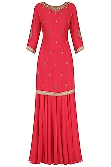 Coral Embroidered Kurta and Sharara Pants Set by Megha & Jigar