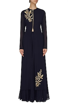 Navy Blue Embroidered Jacket and Sharara Pants Set by Megha & Jigar